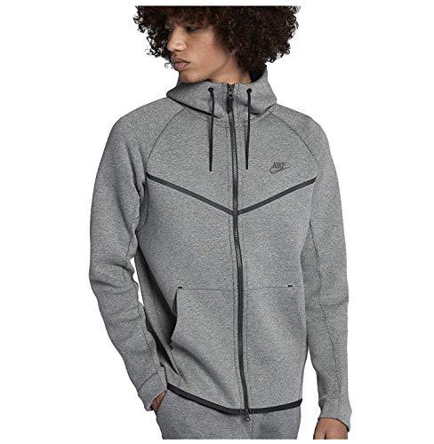 Hooded Tech Jacket - Nike Mens Sportswear Tech Fleece Windrunner Hooded Sweatshirt Carbon Heather/Black 805144-091 Size Large