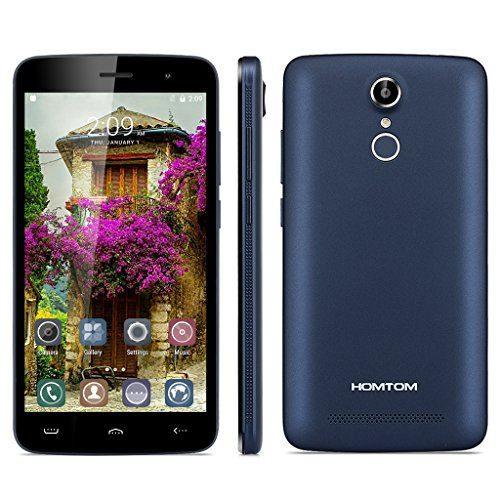 HOMTOM HT17 5.5 Zoll 4G-LTE Smartphone Android 6.0 IPS HD Screen Dual SIM Quad Core 1.3GHz 1GB RAM + 8GB ROM 8.0MP 2MP Dual Kamera Handy ohne Vertrag Smart Wake Air Gestures HotKnot Fingerprint GPS Dunkelblau