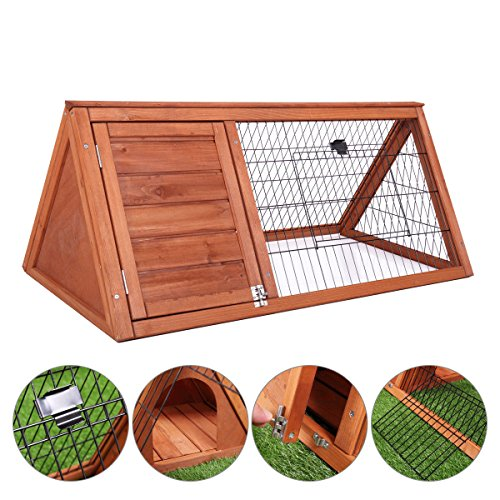 Tobbi Wooden Outdoor A-Frame Rabbit and Small Animal Hutch Chicken Coop