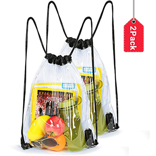 Naicissism Clear Drawstring Bags - Gym Black Drawstring Bags for Stadium, Concert Fans, Travel and Works-1/2Pack Black ()