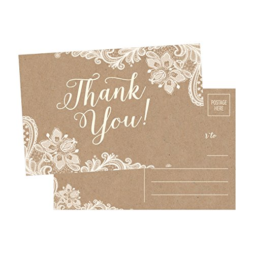 50 4x6 Kraft Thank You Postcards Bulk, Cute Rustic Matte Blank Thank You Note Card Stationery Set For Wedding, Bridesmaid, Bridal Baby Shower, Teachers, Appreciation, Religious, Business, Holidays