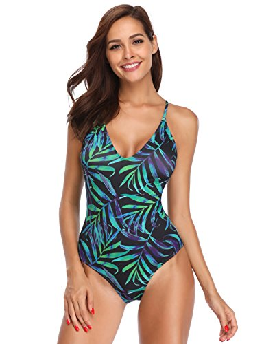 MARINAVIDA Women V-Neck One Piece Swimsuit Floral Print Bathing Suit ()