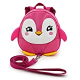 BTSKY Baby Toddler Walking Safety Backpack Little Kid Boys Girls Anti-lost Travel Bag Harness Reins Cute Cartoon Penguin Mini Backpacks with Safety Leash for Baby 1-3 Years Old (Pink)