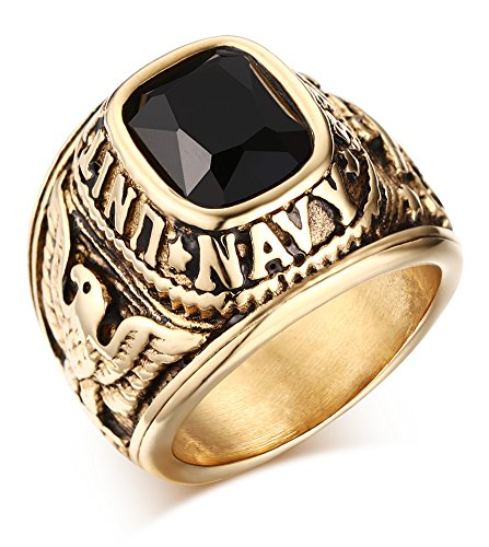 Black Navy Ring (Stainless Steel Black CZ Stone United States Navy Rings for USMC Marine Corps,Gold,Size 11)