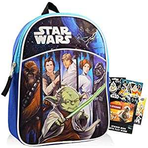 Star Wars Mini Backpack for Preschool Toddlers Bundle ~ Deluxe 11″ Star Wars Backpack for Kids with Stickers (Star Wars School Supplies)