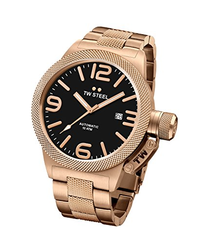 TW Steel Men's Canteen Watch Rose Gold PVD Stainless Bracelet Auto 45mm CB175
