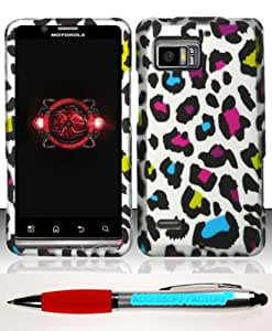 Accessory Factory(TM) Bundle (the item, 2in1 Stylus Point Pen) For Motorola Droid Bionic 4G XT875 (Verizon) Rubberized Design Case Cover Protector - Colorful Leopard