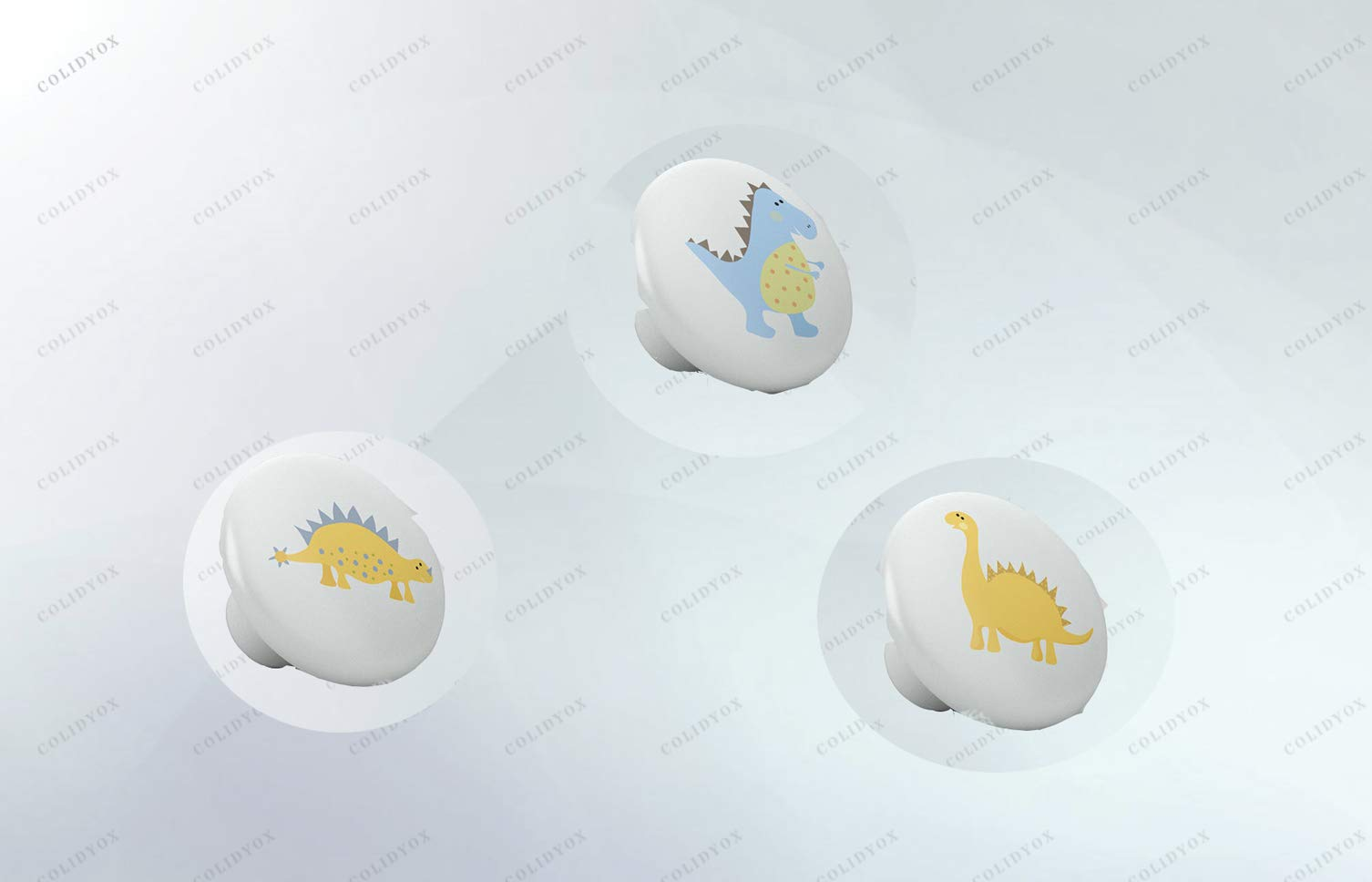 COLIDYOX___ Crystal Structure Ceramic Knob,Easy to Install,Beautiful Cute Dino Baby Dinosaur Rex Nursery Ceramic Knob,Kitchen cabinets, wardrobes, and/or Dressers