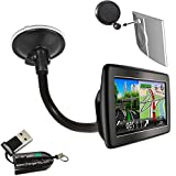 ChargerCity OEM Gooseneck Windshield Suction Cup Mount for TOMTOM VIA 1400 1405 1435 1500 1505 1535 1600 1605 1635 GPS Navigator w/Free Charger City Micro SD Memory Card Reader Writer Item include Manufacture Direct Replacement Warranty
