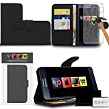 IWIO Samsung Galaxy A5 SM-A500F Black PU Leather Executive Multi-Function Wallet Case Cover Organiser Flip with Credit / Business Card Money Holder Integrated Horizontal Viewing Stand Includes Tempered Glass Protective LCD Screen Protector