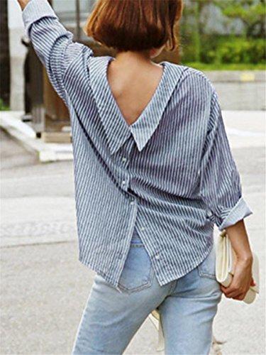 LHWY Damen Herbst Mode Frauen Blau gestreiftes Langarm Shirt