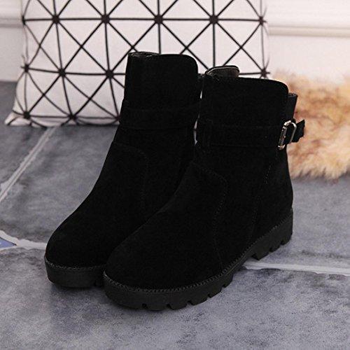 Tefamore Zapatos Planos de Mujer Cargadores de Martin Botines Botas de Nieve Retro Cabeza Redonda Otoño Invierno Negro