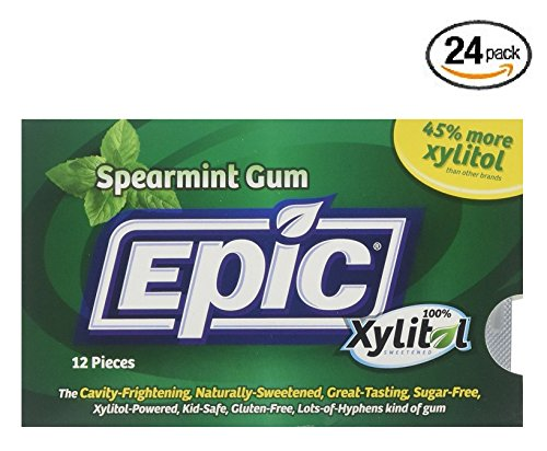 Spearmint Cool 12 Boxes (Epic Dental 100% Xylitol Sweetened Gum, Spearmint, 12 Count (Pack of 24))