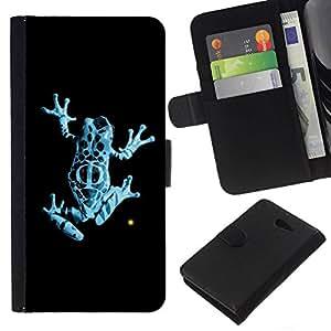 All Phone Most Case / Oferta Especial Cáscara Funda de cuero Monedero Cubierta de proteccion Caso / Wallet Case for Sony Xperia M2 // Neon Blue Jungle Fringe Frog