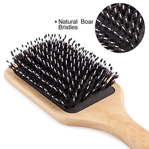 Hair Brush-Boar Bristle Hairbrush for Women Men Long Thick Fine Curly Wavy Dry or Wet Hair,Best Brush Set for Reducing Hair Breakage and Frizzy-Wooden Comb&Giftbox Inclued by Sosoon (Image #2)