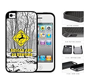Reload and Go Hunting Yellow Deer Target Sign with Snow Forest Background iPhone 4 4s (2-piece) Dual Layer High Impact Cell Phone Case