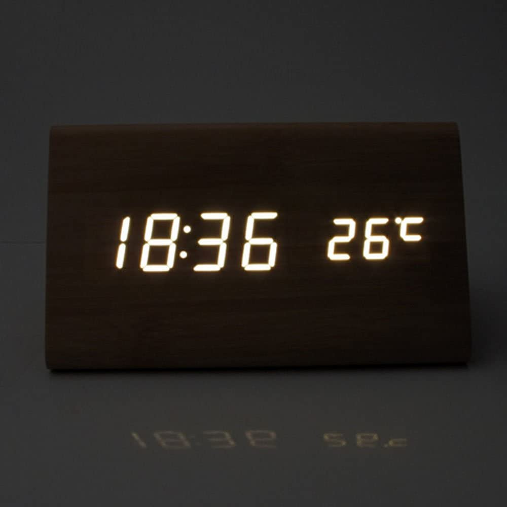 Glovion Modern Triangle Wooden LED Digital Alarm Desktop Clock Time Temperature Date Display Bamboo with White LED Voice Sound Control