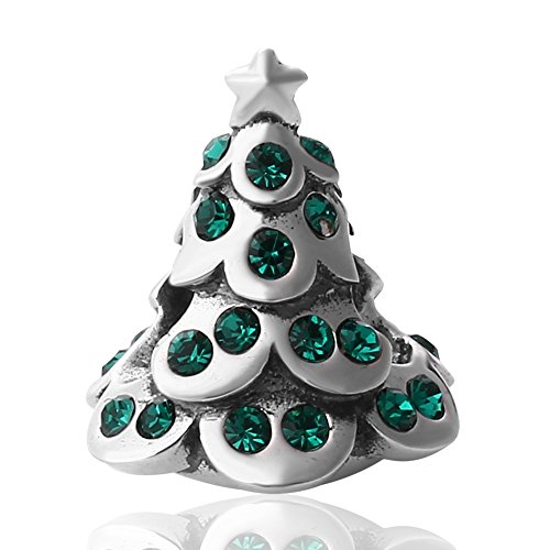Christmas Tree Charm - Christmas Tree Crystal Charm Authentic 925 Sterling Silver Bead Charms for Xmas Gift (Green)