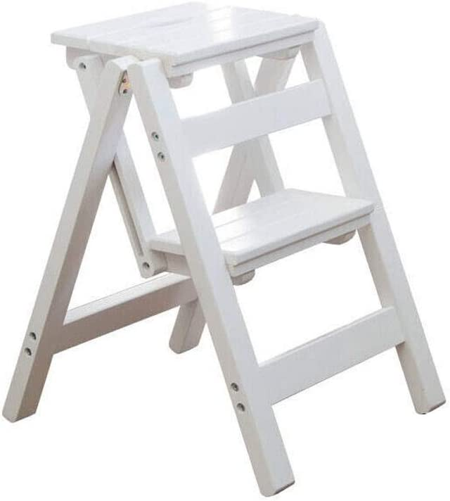 Paso Taburetes escalera blanca de madera, los niños los niños del niño plegables Taburetes 2 escalera de mano for Niños cubierta de madera del escalonamiento plegable portátil silla for adultos Cocina: Amazon.es: