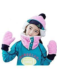 Triwonder Little Boys Girls Toddlers Winter Warm Fleece Flap Hat Scarf Mittens Set (L ( 6-12 years old ), Pink)