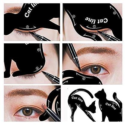 Gusspower 2pcs hojas gato negro delineador de ojos diseño de color gris sombra de ojos maquillaje