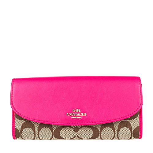 Coach Women's Fabric With Leather Wallet (Khaki mei red I...