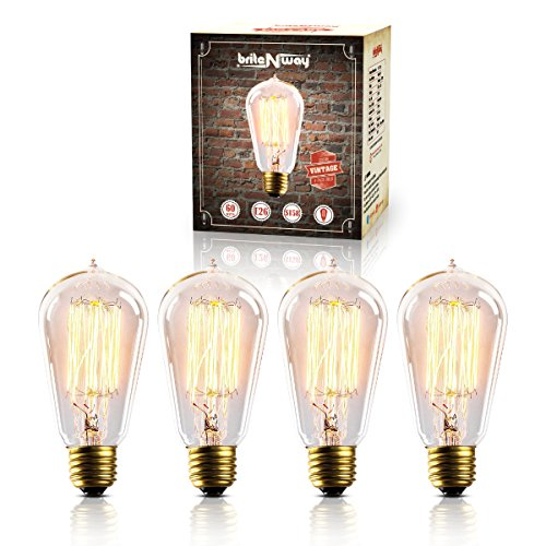 Normal Long Cage (briteNway Vintage Edison Bulb - Gorgeous Antique Squirrel Cage Filment Dimmable Style Light Bulbs - Warm Cozy Home Décor - 4 Pack 60w Nice Bright Clear - ST58 Teardrop Top - 120V -170 Lumens)