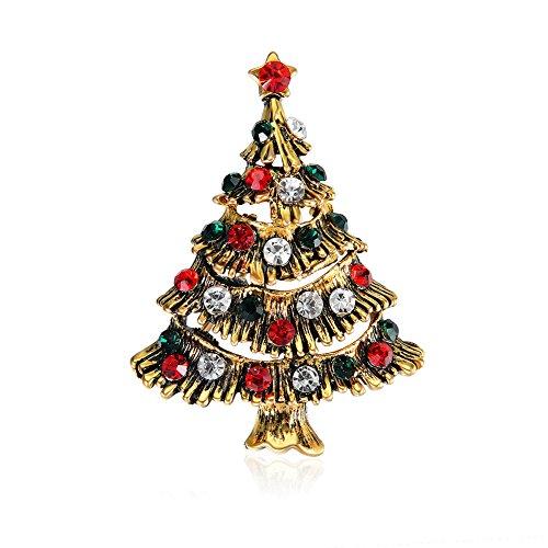 Everrich Rhinestone Crystal Christmas Brooch Pin Set Christmas Tree Santa Claus ()