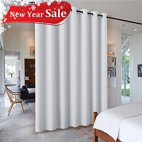 7ft Tall Room Divider - RYB HOME Furniture Protecting Ceiling to Floor Blackout Partition Curtain for Patio Sliding Glass Door/ Large Window / Locker Room, 8.3 ft Wide x 7 ft Tall, Greyish White, 1 Pc - Furniture White Panel