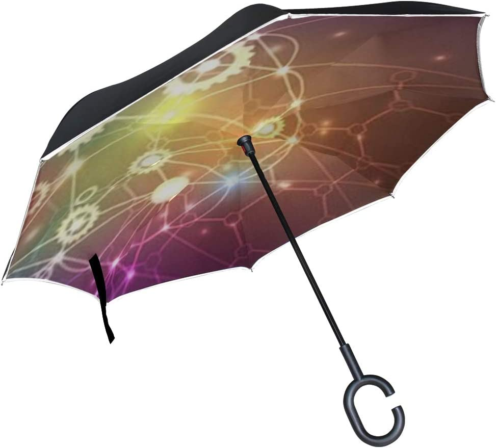 Double Layer Inverted Inverted Umbrella Is Light And Sturdy Abstract Artificial Intelligence Technology Web Background Reverse Umbrella And Windproof