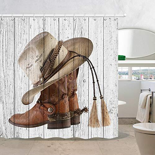 Cowboy Western Door Curtain - NYMB Western Cowboy Boots Fabric Shower Curtain with Hooks, 3D Digital Printing American Country Farm House Rustic Grey Wooden Barn Door Polyester Bath Curtain, Fabric Bathroom Set Decor, 69X70in