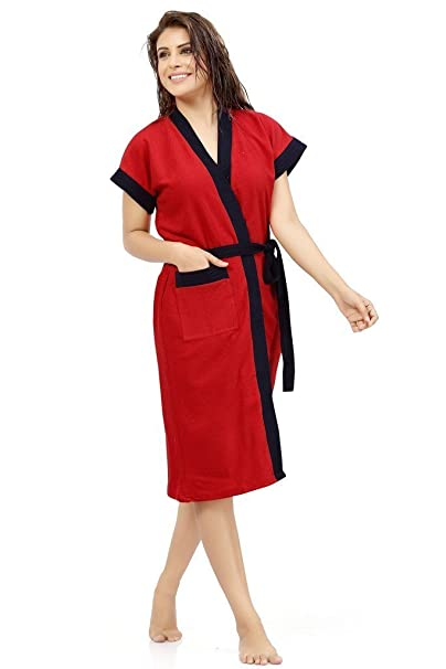 Superior FeelBlue Cotton Double Shaded Bathrobe (Red and Navy Blue, Free Size)