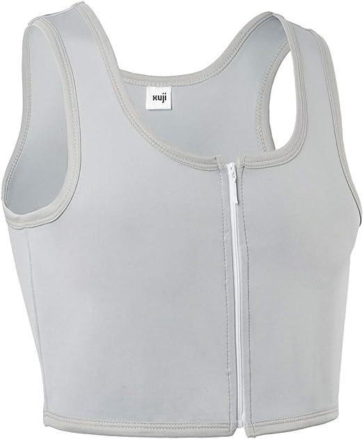 XUJI Women Tomboy FTM Zip Up Elastic Chest Binder Breathable Bamboo Slim Fit Tank Top