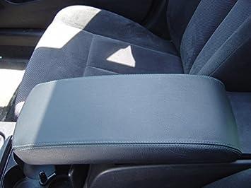 RedlineGoods armrest cover compatible with Nissan Altima 2007-12 Black leather-Black thread