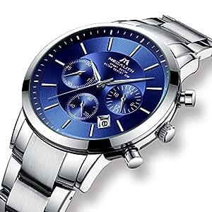 Relojes Hombre Reloj de Pulsera Militar Impermeable Cronógrafo Deportivo de Plata Acero Inoxidable Reloj de Hombres Lujo Negocios Calendario