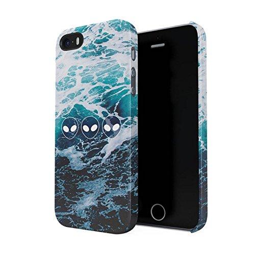 Ocean Waves Alien Emoji Hard Plastic Phone Case For iPhone 5 & iPhone 5s & iPhone SE
