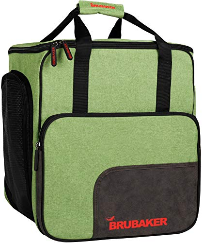 BRUBAKER Super Performance Ski Boot Bag Helmet Bag Backpack with Shoe Compartment - Green -