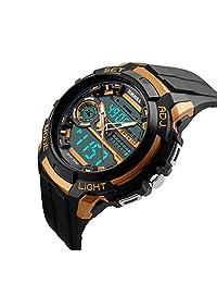 Lintimes Men's Analog Digital Multifunctional Sport Dual Time Wrist Watch Golden