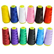 12 Piece Overlocking Polyester Sewing Machine Thread Cones - Assortment of Colourful Threads Spools for Sewing Machines Measuring 18,000 Yards in Total - Ideal for Sewing, Quilting or Embroidery