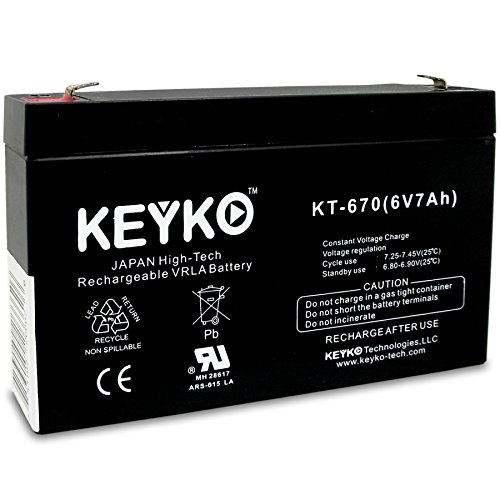 Kid Trax Avigo Quad KT1042TR - KT1051TR 6V 7Ah/REAL 7.0 Amp SLA Sealed Lead Acid AGM Rechargeable Replacement Battery Genuine KEYKO F1 Terminal by KEYKO