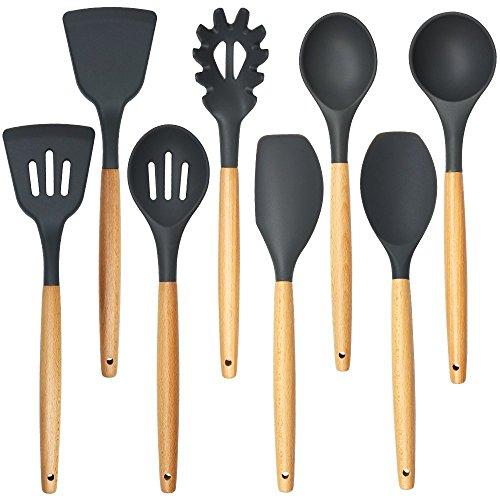 Silicone and Wooden Kitchen Utensils Set – 8 Piece