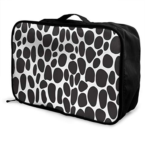 (Travel Bags Giraffe Print Black And White Portable Handbag Unique Trolley Handle Luggage Bag)
