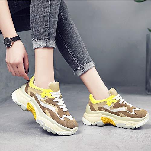 de Yellow Femeninas Beige Gray mujer Color para Deporte 38 Khaki Tamaño Casual con Caminar HWF Cordones para Zapatos Deportes Ocio Zapatos Otoño Atlético Zapatillas Corriendo fySpqIWwYR