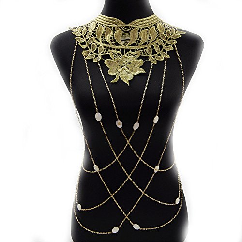SIYWINA Body Chain Gold Flower Lace Imitation Pearls Chain Body Chain Bikini Summer New Arrival by SIYWINA