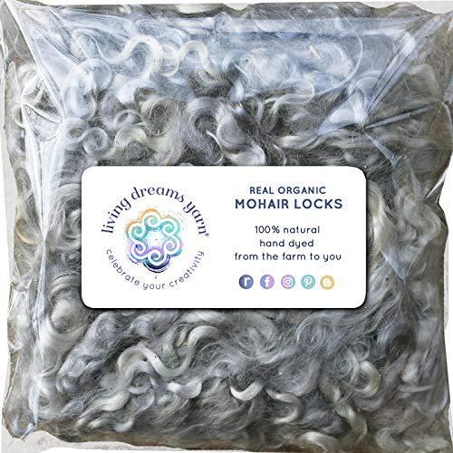 - Real Mohair Wool Locks, Organic Hand Dyed Fiber for Felting, Blending, Spinning, Knitting, Doll Hair and Embellishments. 1 Ounce Silver