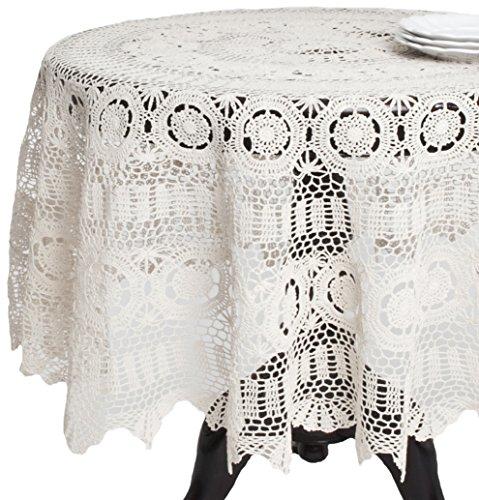 SARO LIFESTYLE 869 Crochet Tablecloths, 36-Inch, Round, White