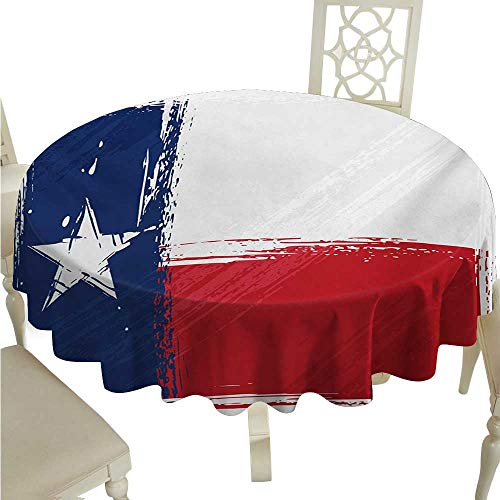 - cashewii Texas Star Flow Spillproof Fabric Tablecloth Grunge Flag with Watercolor Brush Strokes Independent Country Great for Buffet Table D70 Vermilion White Dark Blue