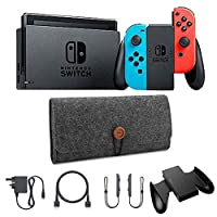 Nintendo Switch Neon Blue and Red Joy Con with Carrying Case