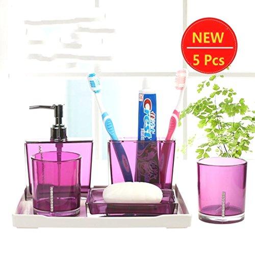 5PC/Set Acrylic Bathroom Accessories Bath Cup Bottle Toothbrush Holder Soap Dish (Purple color) (Halloween Store Portland Oregon)