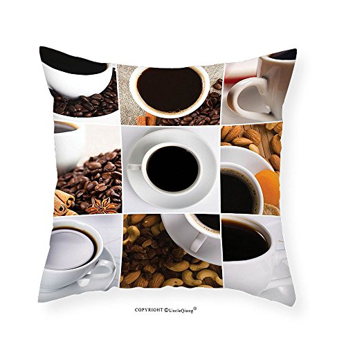 VROSELV Custom Cotton Linen Pillowcase Kitchen Coffee Mugs Collage with Almonds Cashews Beans Cinnamon Modern Composition for Bedroom Living Room Dorm White Black Brown (Bed Cashew)